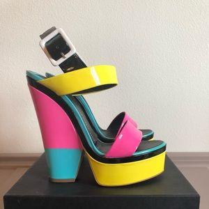 Giuseppe Zanotti Neon Wedge Sandals 39